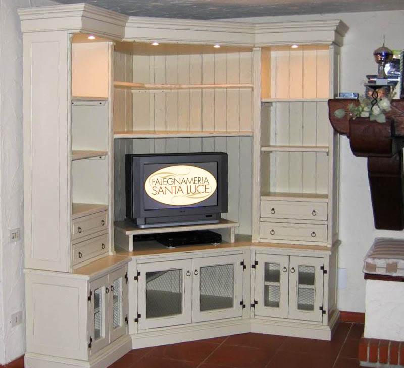 Arredamento artigianale toscano falegnameria santa luce - Mobile ad angolo per salotto ...